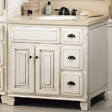 """Search : Sagehill Designs VQ3621D Glazed White Victorian 36"""" Vanity Cabinet with Three Drawers and Two Doors"""