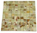 "Tools & Hardware : 1x1 Light Green Onyx Polished Finish Mosaic Tiles Meshed on 12"" X 12"" Tiles for Kitchen & Bathroom Backsplash"